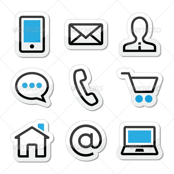 Contact Web Stroke Icons Set
