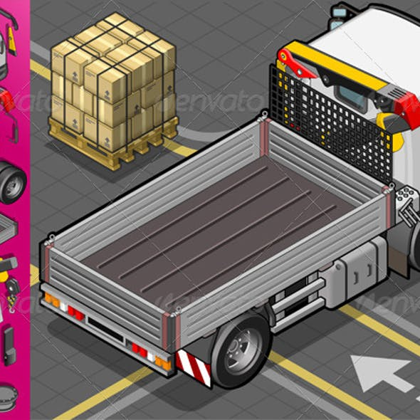 Isometric Container Truck in Rear View