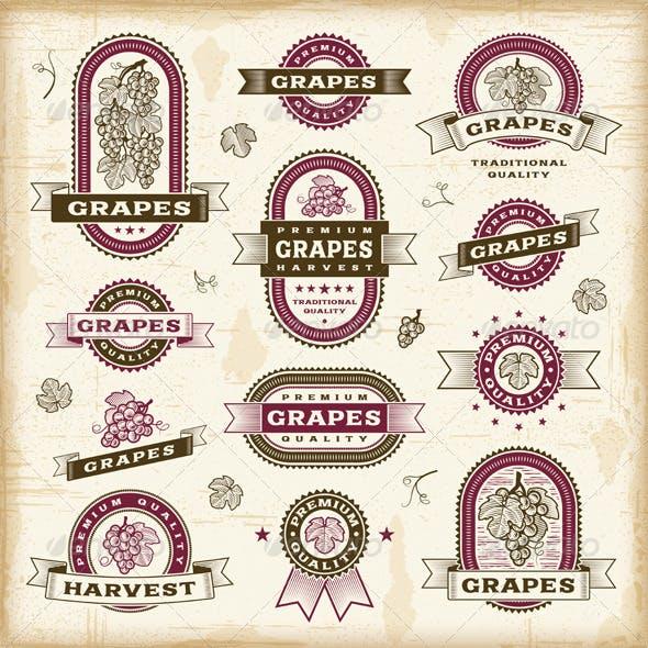 Vintage Grapes Labels Set