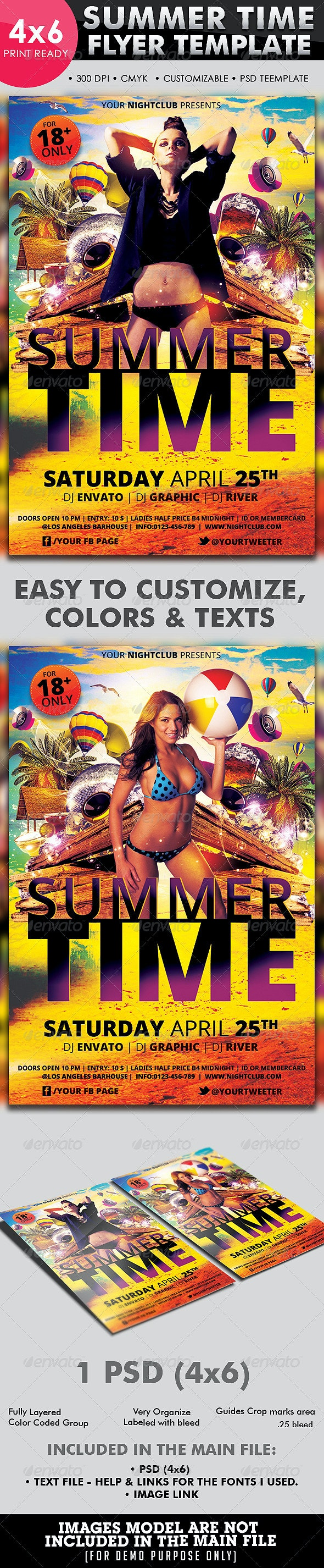 Summer Time Flyer Template - Flyers Print Templates