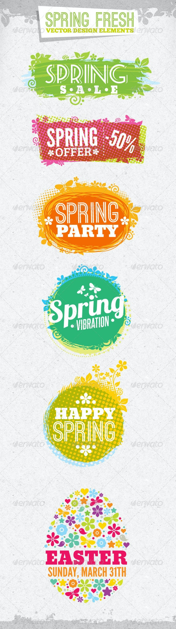 Fresh Spring Design Elements - Flowers & Plants Nature