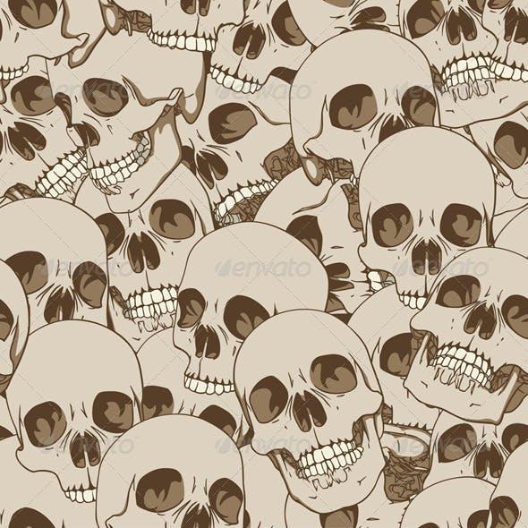 Human Skulls Seamless Background