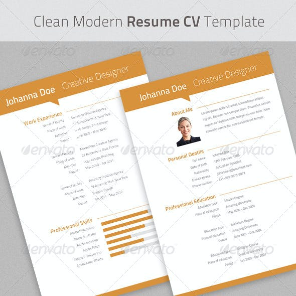 Clean Modern Resume Cv Indesign Template