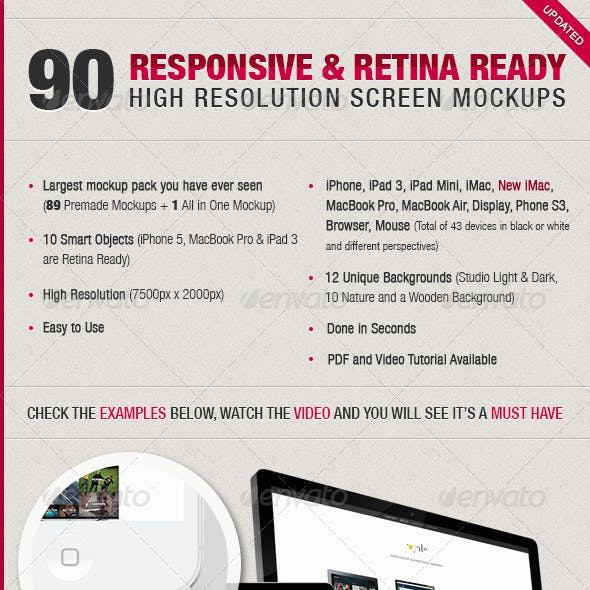 90 Responsive & Retina Ready Screen Mockups