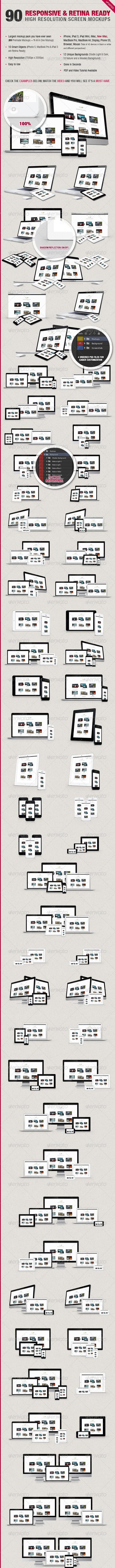 90 Responsive & Retina Ready Screen Mockups - Multiple Displays