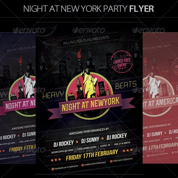 Night at New York Retro Flyer