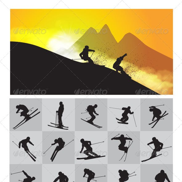 Skiing, Snowboarding and Snowmobile Silhouettes
