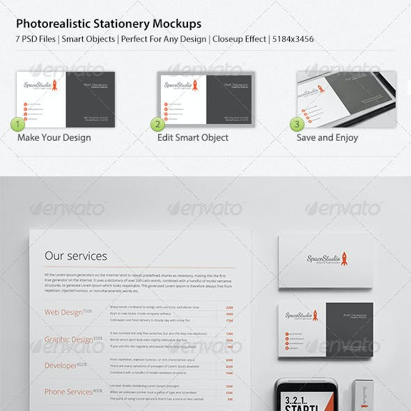 Photo Realistic Stationary/Brand Identity Mockups