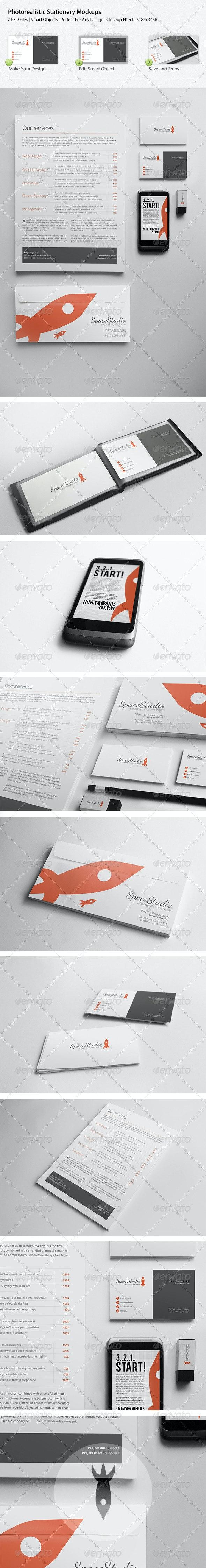 Photo Realistic Stationary/Brand Identity Mockups - Print Product Mock-Ups