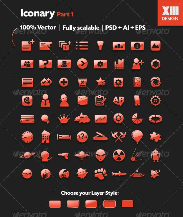 Iconary Part 01 - 64 Icons + 5 Layer Styles - Miscellaneous Characters