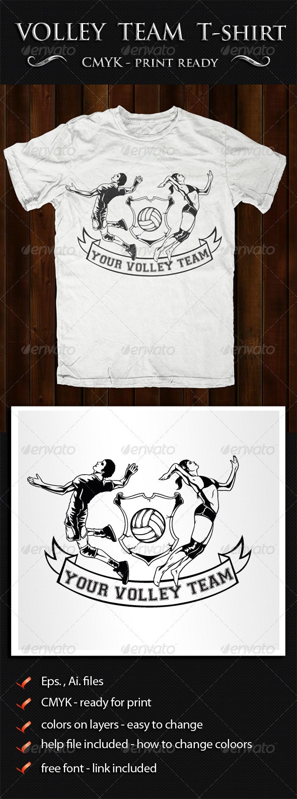 Volley T-shirt Template - T-Shirts