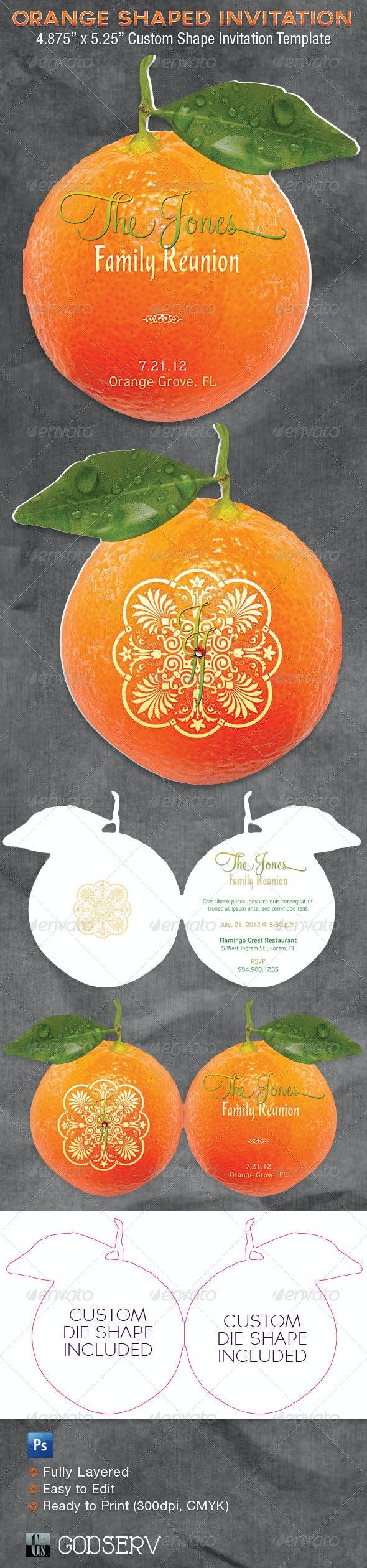 Orange Shaped Invitation Card Template - Invitations Cards & Invites