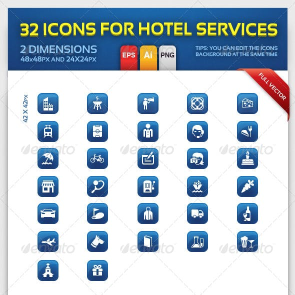 32 Vector Icon for Hotel Services