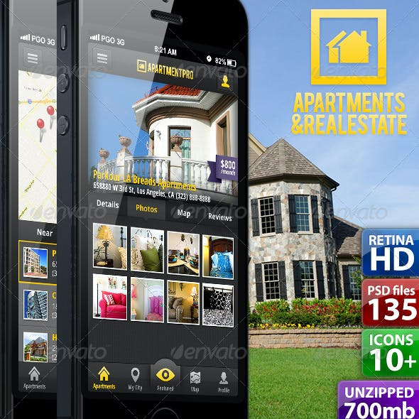 Apartments Real Estate UI Phone 5 Retina 135 PSDs