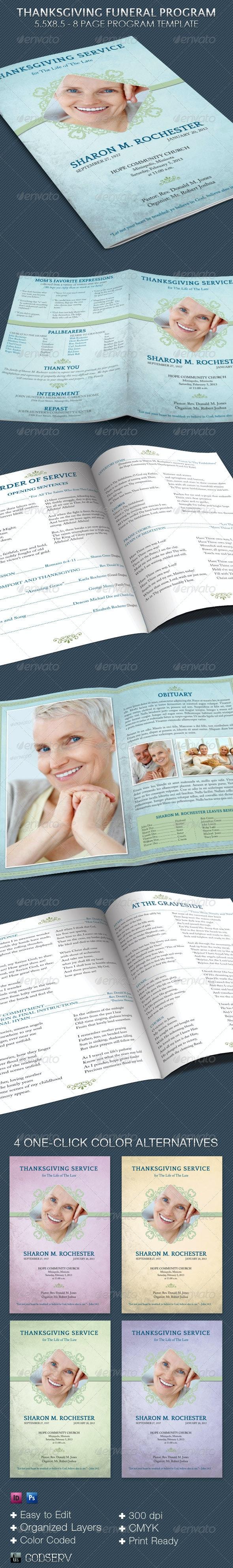 Thanksgiving Funeral Program Template - Informational Brochures