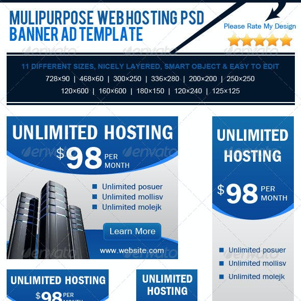 Multipurpose Web Hosting PSD Banner Ad Template