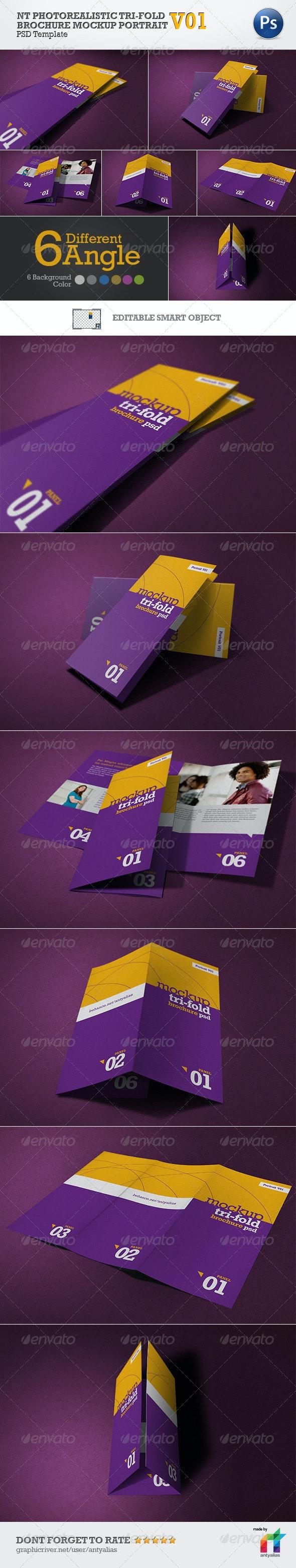 NT Photorealistic Tri-Fold Brochure Mockup - V01 - Print Product Mock-Ups