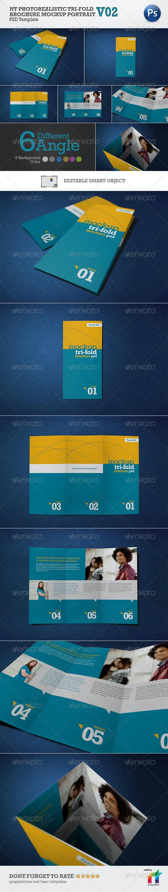 NT Photorealistic Tri-Fold Brochure Mockup - V02 - Print Product Mock-Ups