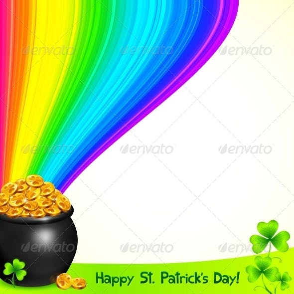 Magic Pot with Gold under the Rainbow