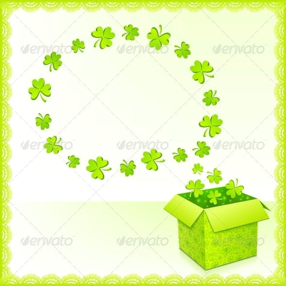 Green Paper Box with Clovers Greeting Card