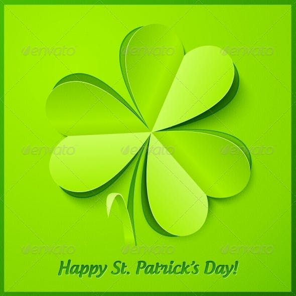 Green Paper Clover Patrick's Day Greeting Card