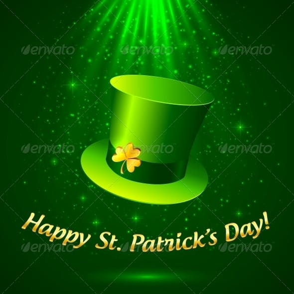 Green Patrick's Leprechaun Hat with Golden Clover