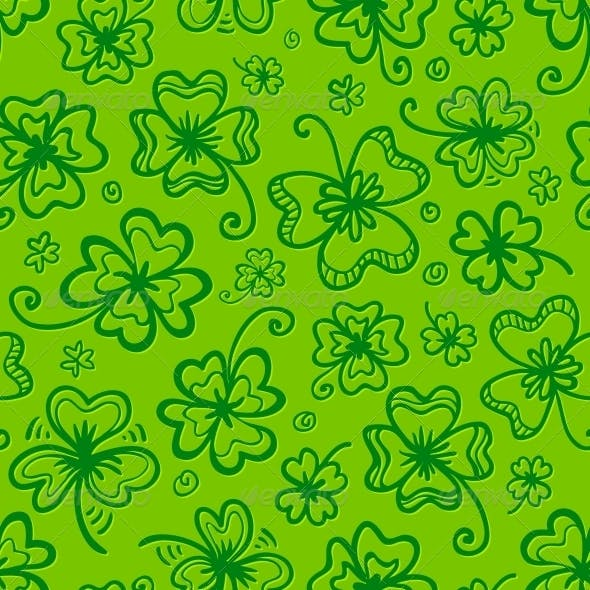 Green Hand Drawn Clovers Seamless Pattern