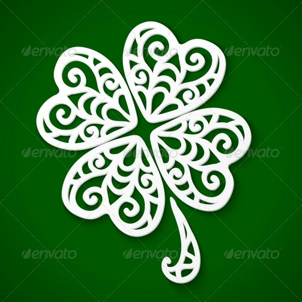 Ornate White Cut Out Clover