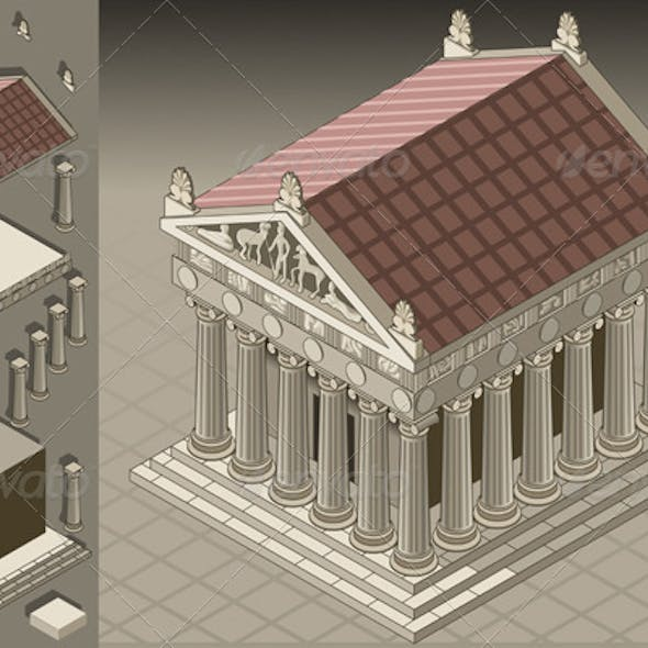 Isometric Greek Temple in Ionic Architecture