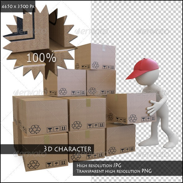 Stock Boy Stacking Cardboard Boxes - Characters 3D Renders