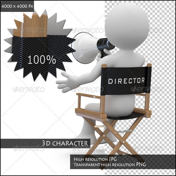Film Director Sitting in a Chair with a Megaphone - Characters 3D Renders