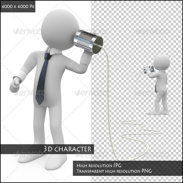 Businessmen Talking by Can Phone - Characters 3D Renders