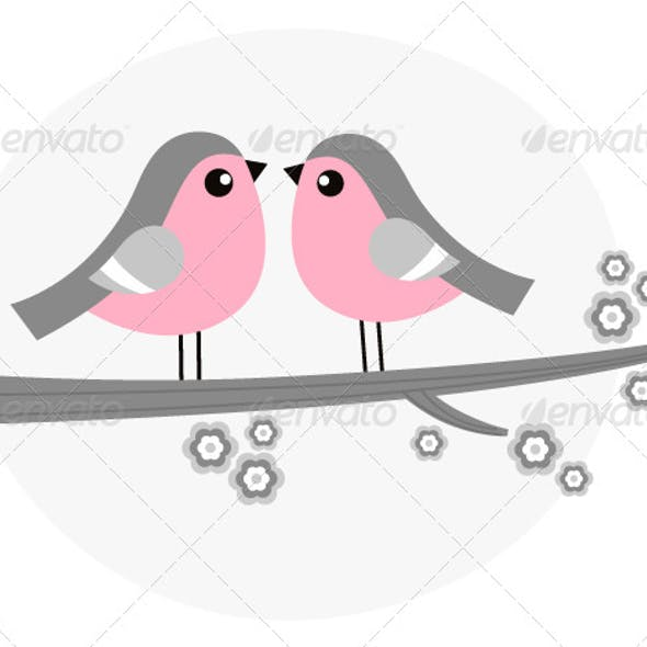 Bird Couple on Blossom Branch - Retro