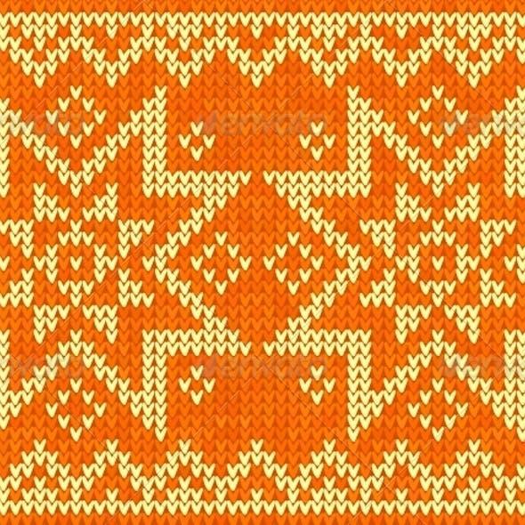Orange Knitted Stars Sweater
