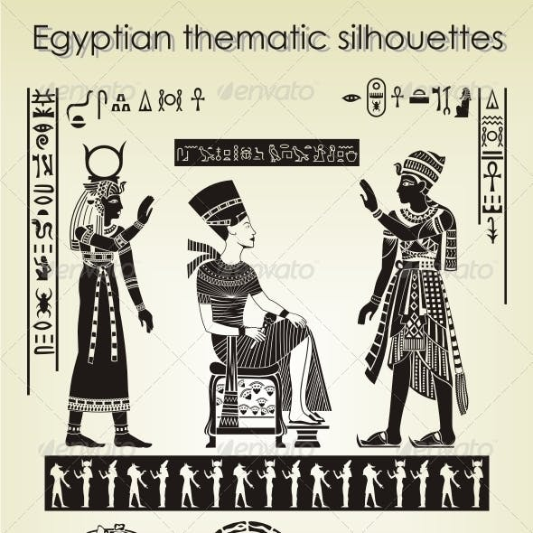 Egyptian thematic silhouettes