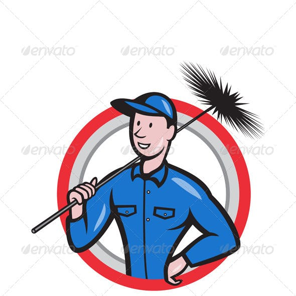 Chimney Sweeper Cleaner Worker Retro