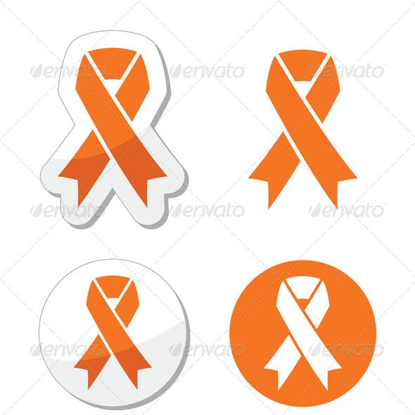 Orange Ribbon - Leukemia, Hunger, Humane Treatment