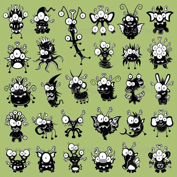 Cartoon monsters, goblins, ghosts, aliens - Monsters Characters
