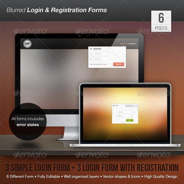 Blurred Login and Registration Forms