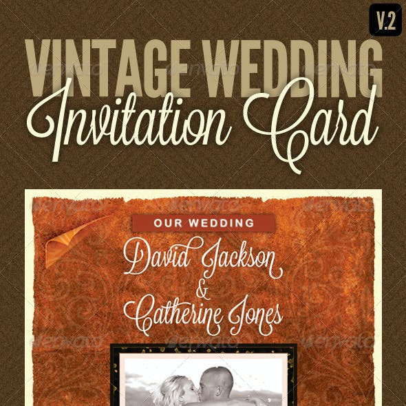 Vintage Wedding Invitation Card V.2