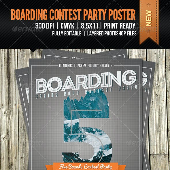 Boarding Contest Party Poster and Invitation
