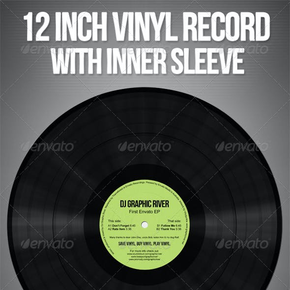 Realistic Vinyl Records With Inner Sleeves