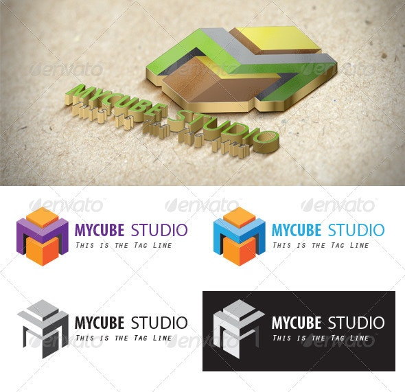 A Cube-styled M Logo - Letters Logo Templates