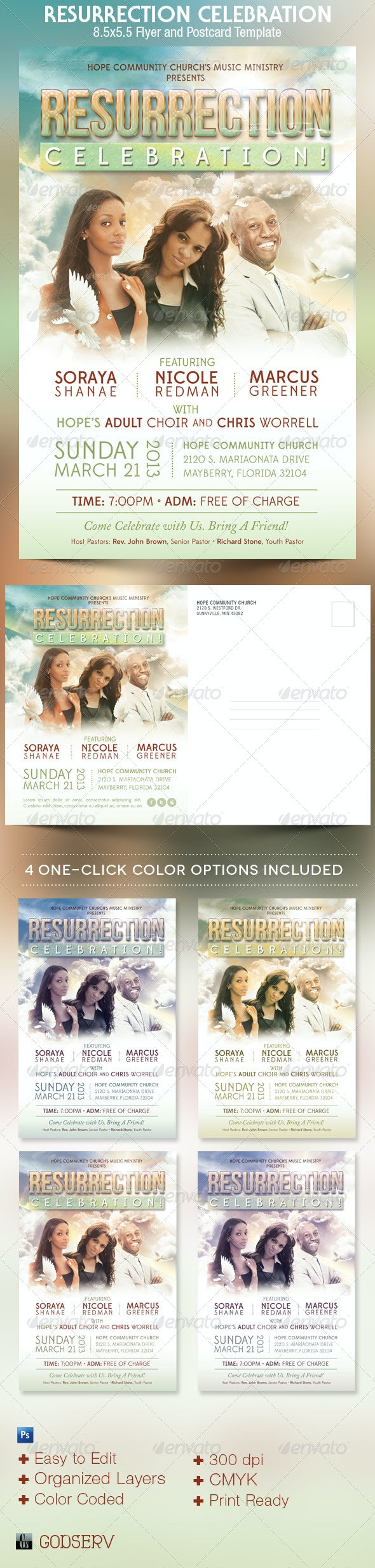 Resurrection Celebration Church Flyer Template  - Church Flyers