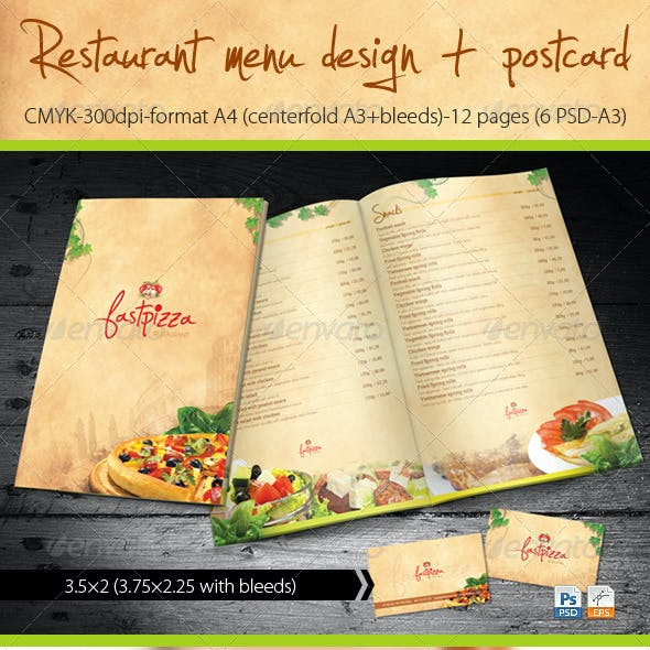 Restaurant Menu Design + Postcard