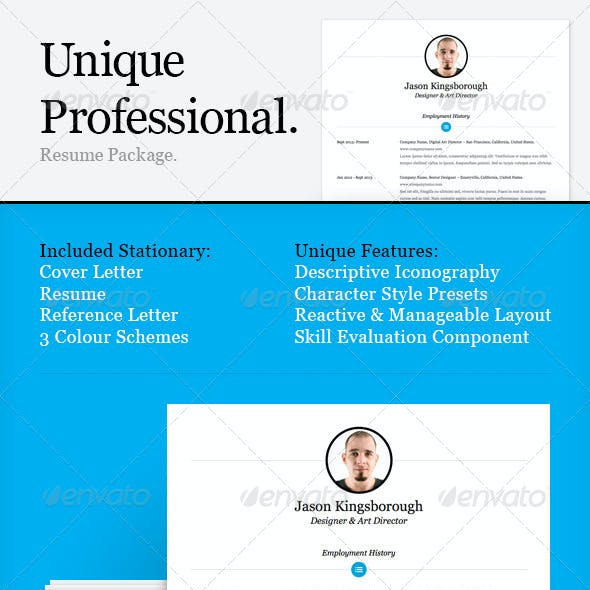 Unique Professional Resume Package (3 Colours)