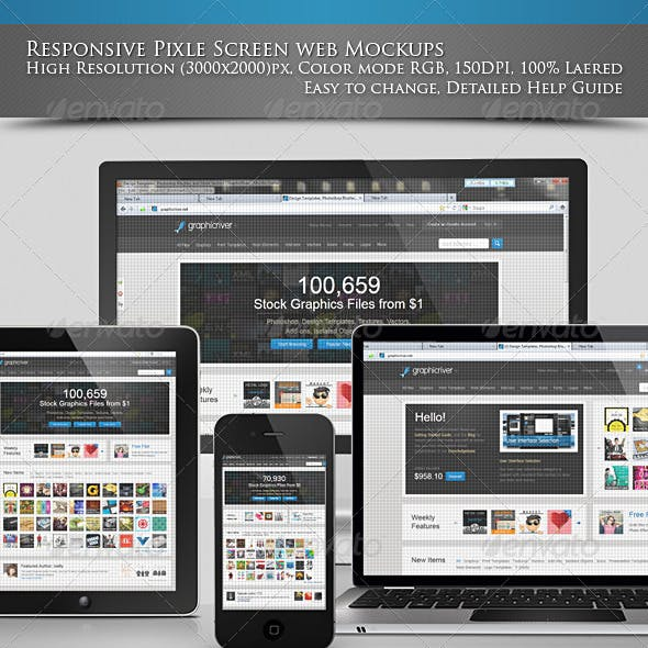 Responsive Pixel Screen web Mockups