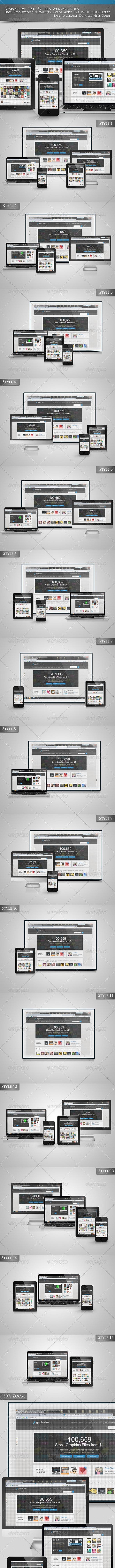 Responsive Pixel Screen web Mockups - Multiple Displays