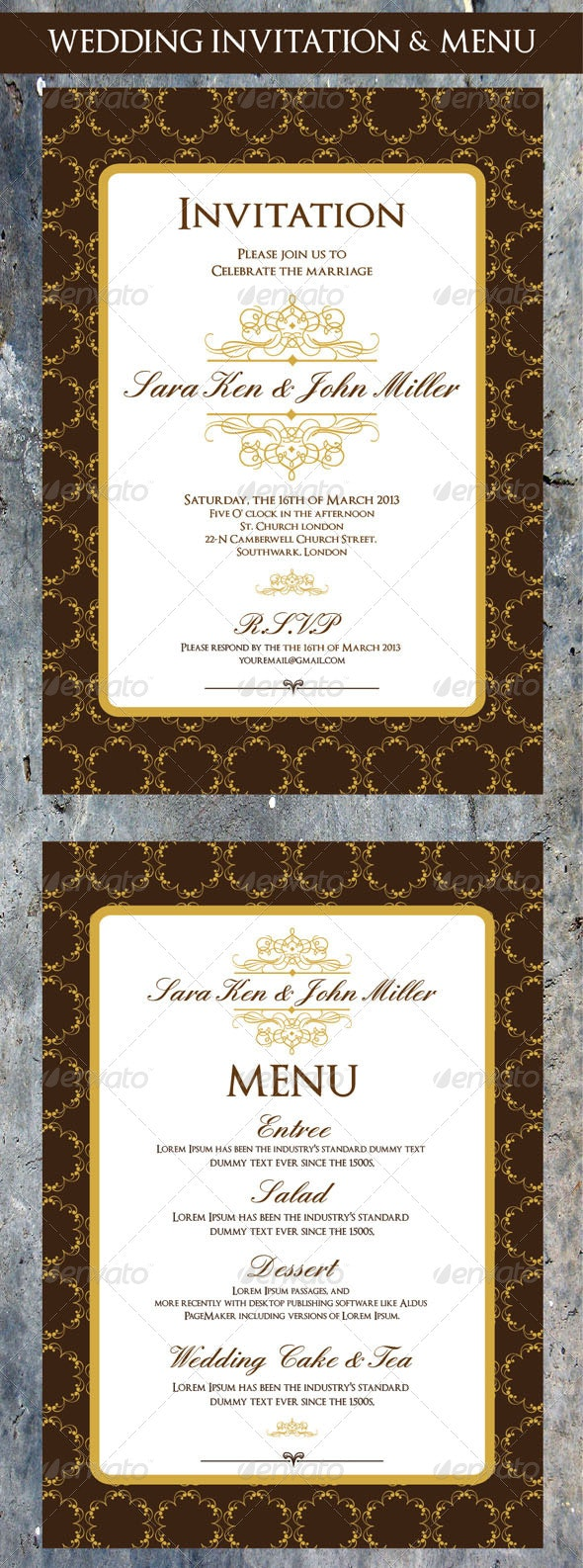 Wedding Invitation & Menu Cards Design - Cards & Invites Print Templates