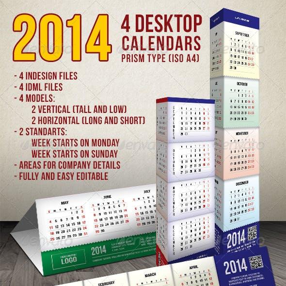 2014 - 4 Prism Type Desktop Calendars (A4)